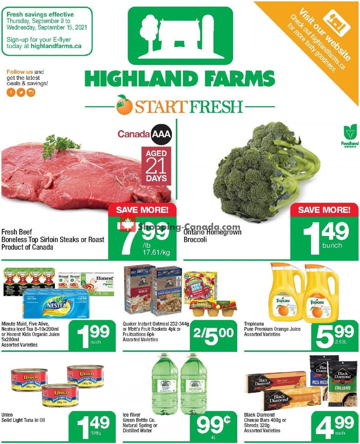 Flyer Highland Farms Canada - from Thursday September 9, 2021 to Wednesday September 15, 2021