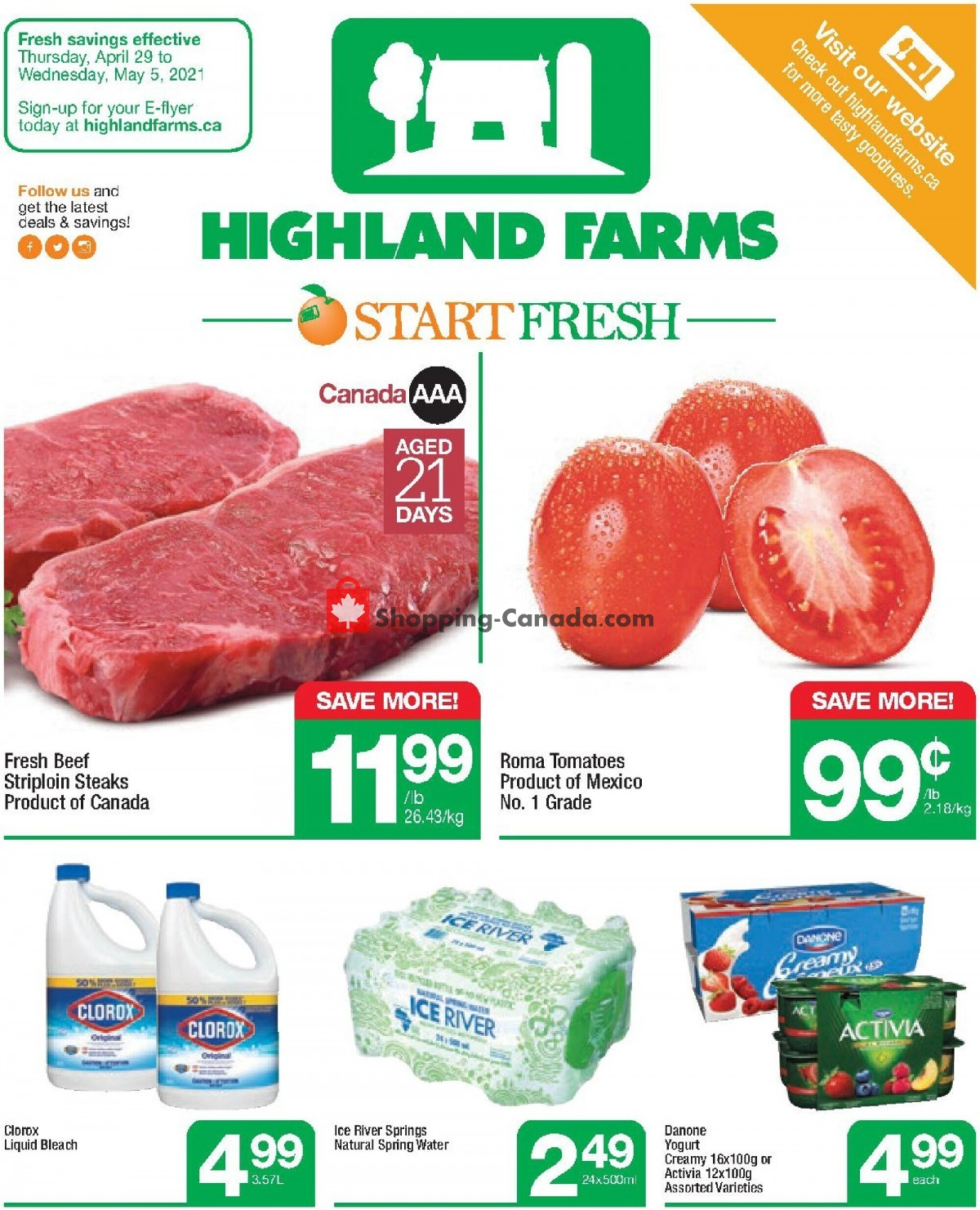 Flyer Highland Farms Canada - from Thursday April 29, 2021 to Wednesday May 5, 2021
