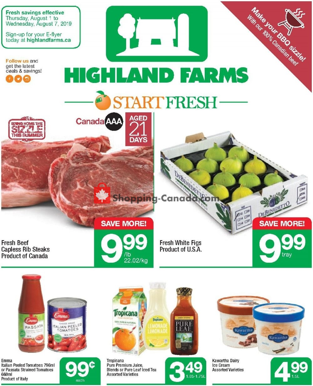 Flyer Highland Farms Canada - from Thursday August 1, 2019 to Wednesday August 7, 2019