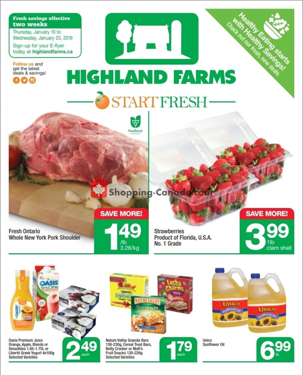 Flyer Highland Farms Canada - from Thursday January 10, 2019 to Wednesday January 23, 2019