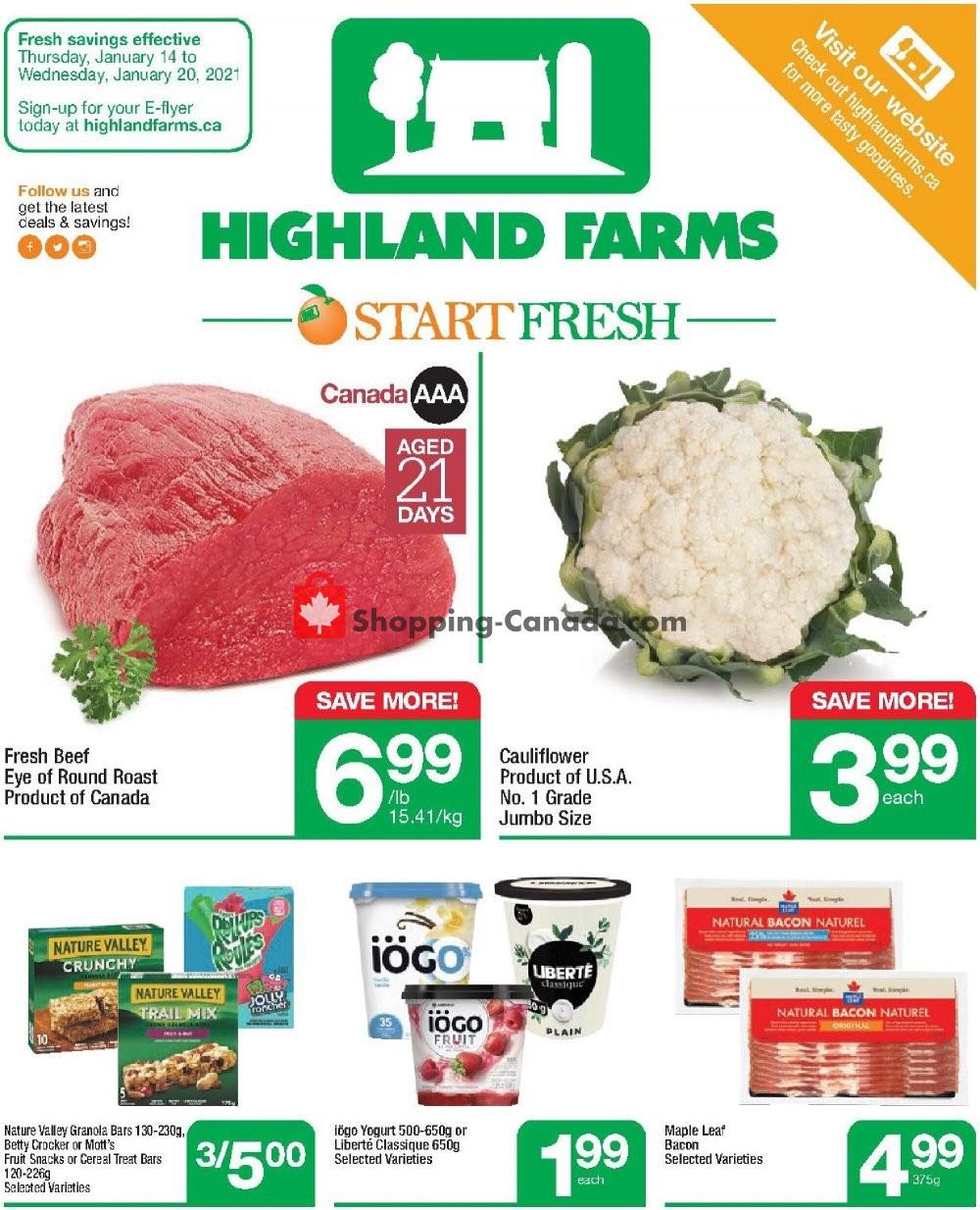 Flyer Highland Farms Canada - from Thursday January 14, 2021 to Wednesday January 20, 2021