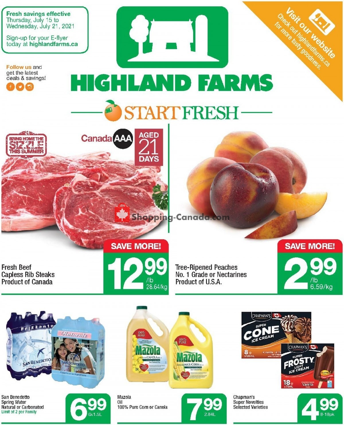 Flyer Highland Farms Canada - from Thursday July 15, 2021 to Wednesday July 21, 2021