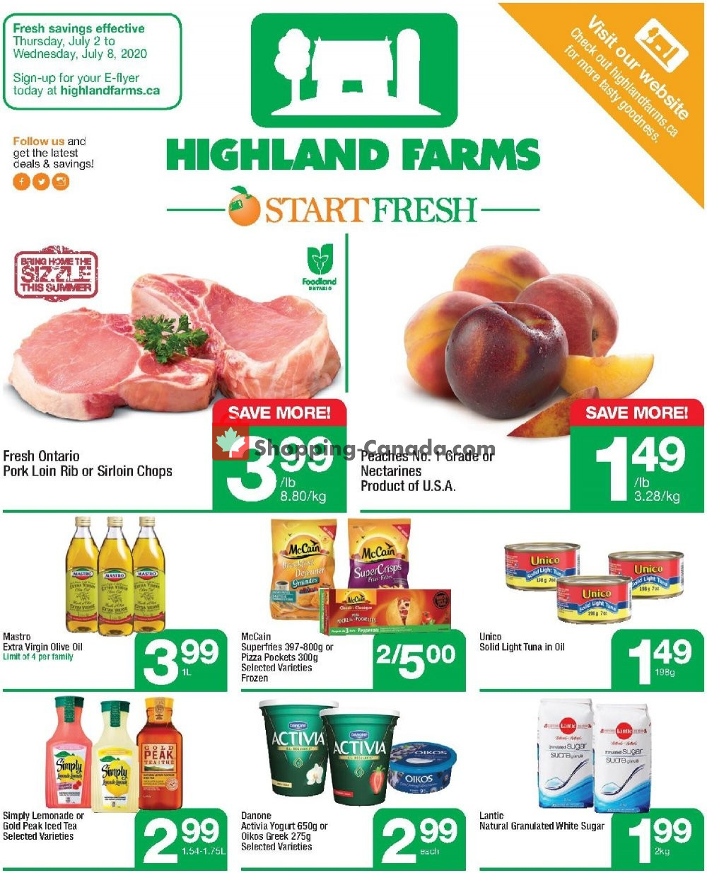 Flyer Highland Farms Canada - from Thursday July 2, 2020 to Wednesday July 8, 2020