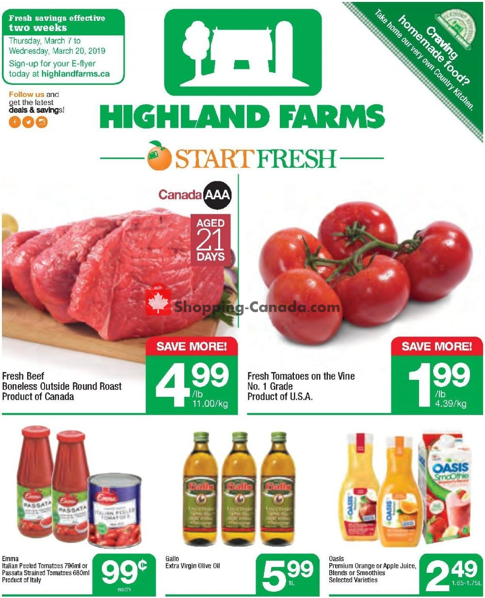 Flyer Highland Farms Canada - from Thursday March 7, 2019 to Wednesday March 20, 2019
