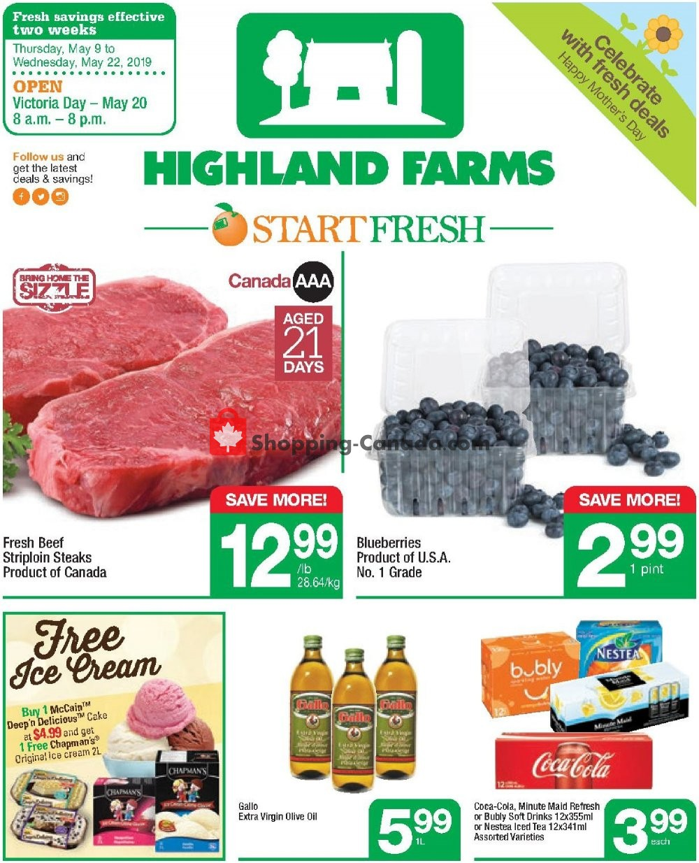 Flyer Highland Farms Canada - from Thursday May 9, 2019 to Wednesday May 22, 2019