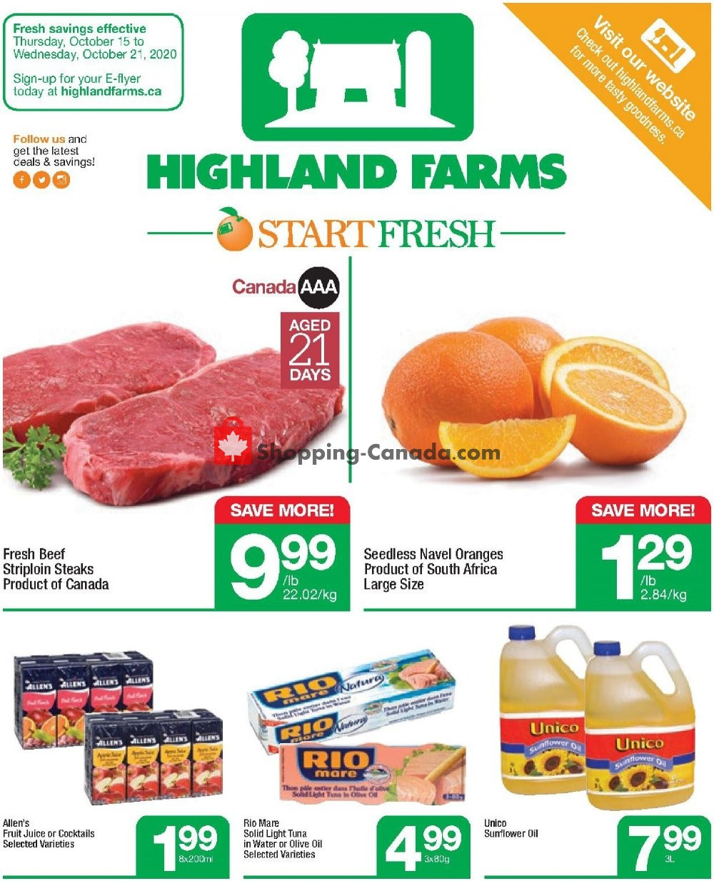 Flyer Highland Farms Canada - from Thursday October 15, 2020 to Wednesday October 21, 2020