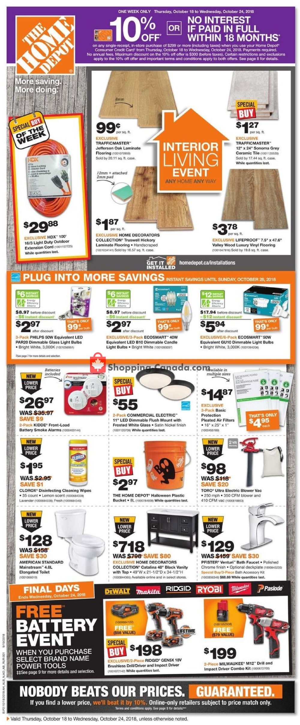 Flyer Home Depot Canada - from Thursday October 18, 2018 to Wednesday October 24, 2018