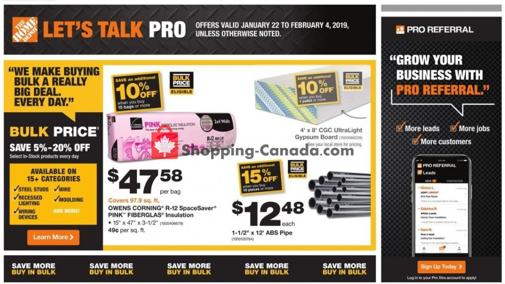 Flyer Home Depot Canada - from Tuesday January 22, 2019 to Monday February 4, 2019