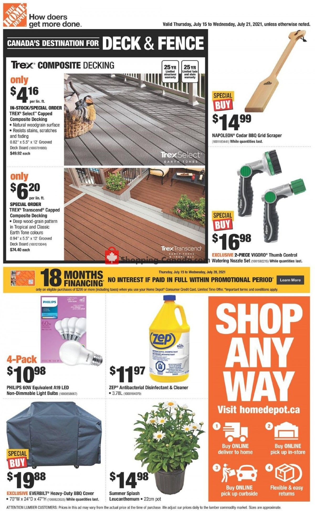 Flyer Home Depot Canada - from Thursday July 15, 2021 to Wednesday July 21, 2021