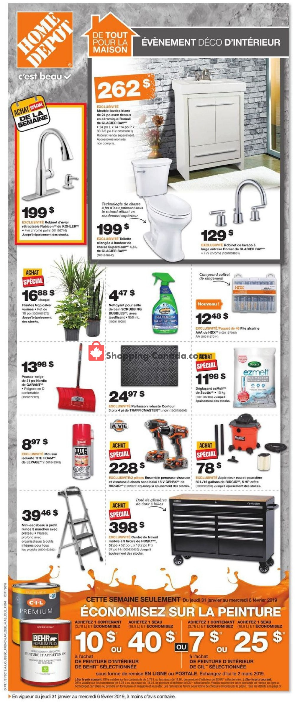 Flyer Home Depot Canada - from Thursday January 31, 2019 to Wednesday February 6, 2019