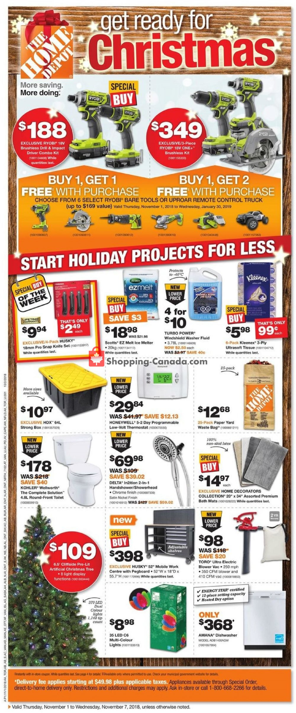 Flyer Home Depot Canada - from Thursday November 1, 2018 to Wednesday November 7, 2018
