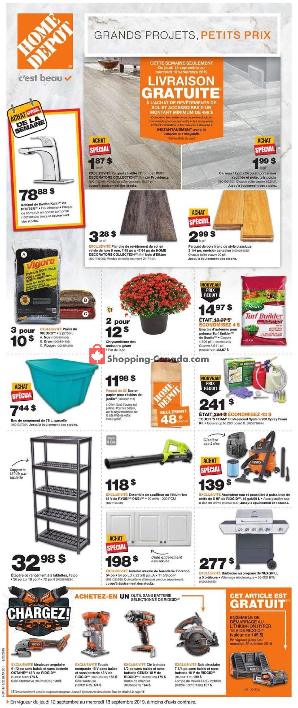 Flyer Home Depot Canada - from Thursday September 12, 2019 to Wednesday September 18, 2019