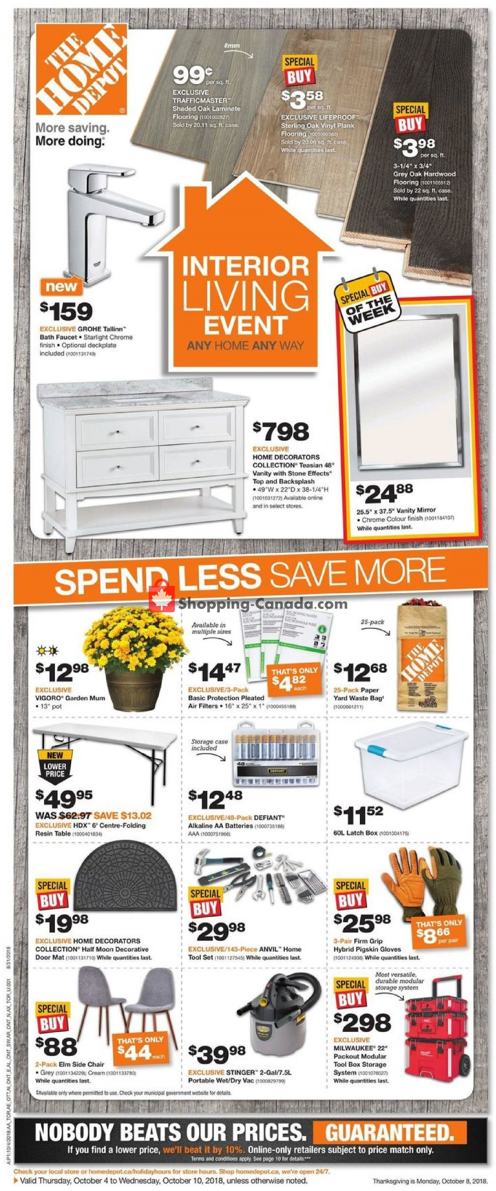 Flyer Home Depot Canada - from Thursday October 4, 2018 to Wednesday October 10, 2018