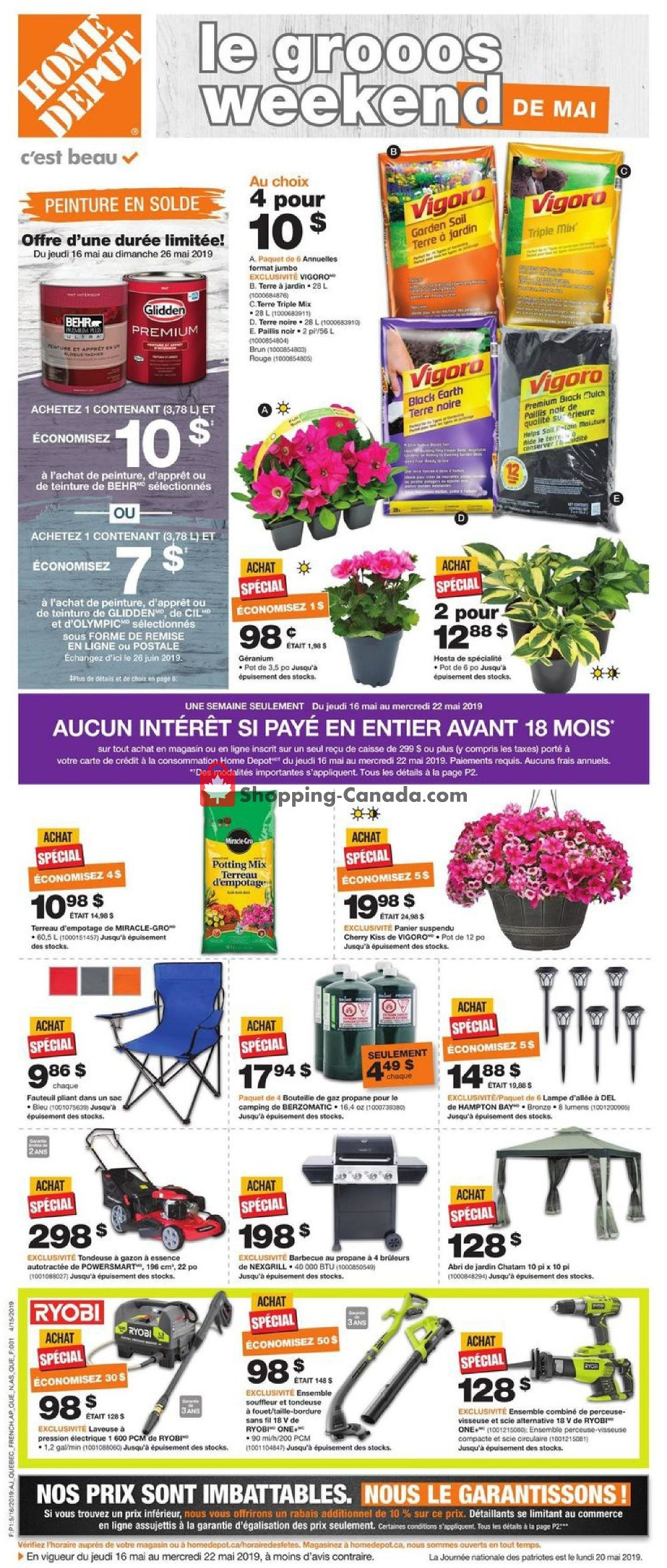 Flyer Home Depot Canada - from Thursday May 16, 2019 to Wednesday May 22, 2019