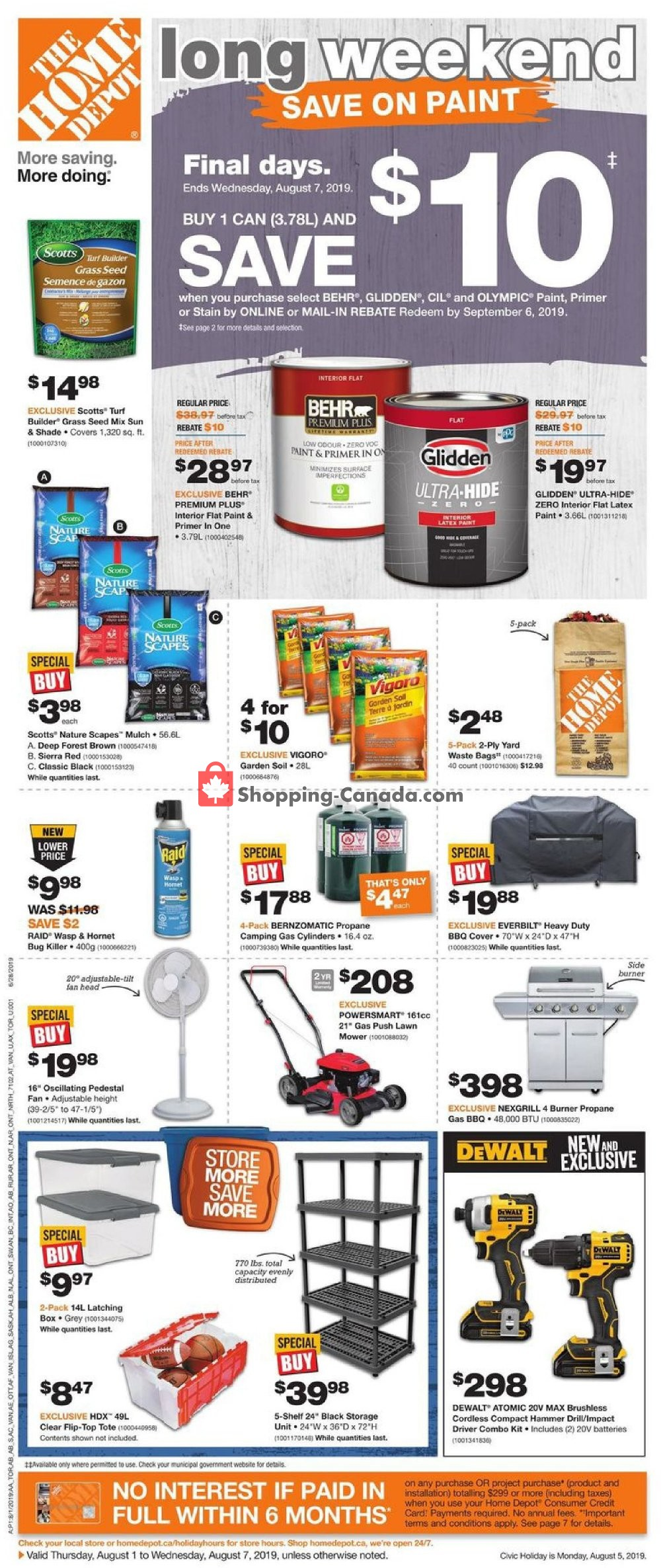 Flyer Home Depot Canada - from Thursday August 1, 2019 to Wednesday August 7, 2019
