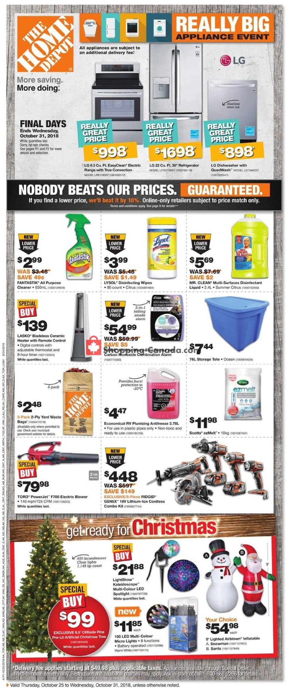Flyer Home Depot Canada - from Thursday October 25, 2018 to Wednesday October 31, 2018