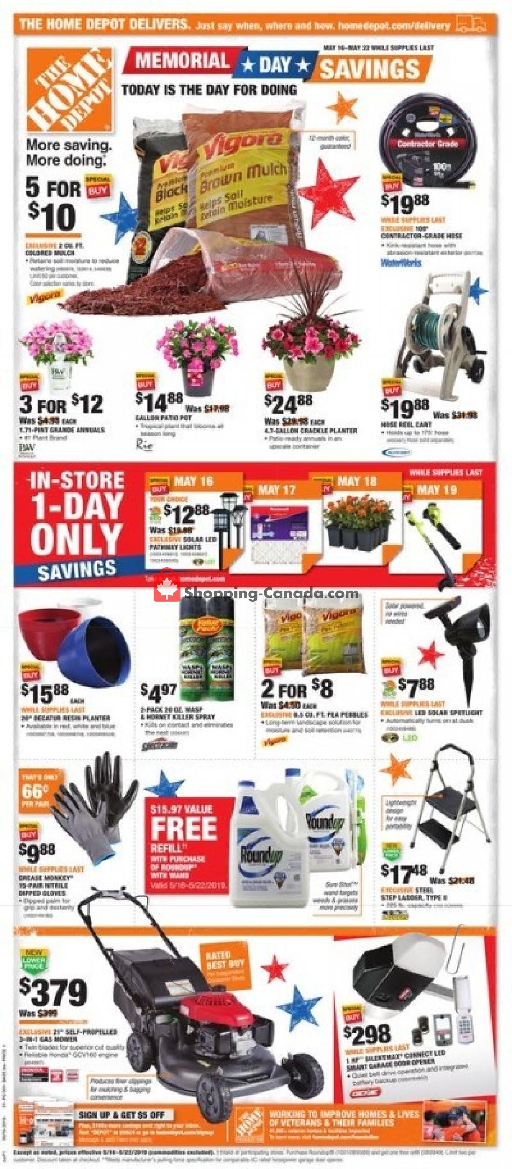 Home Depot Canada Flyer Memorial Day Savings May 16 May 22