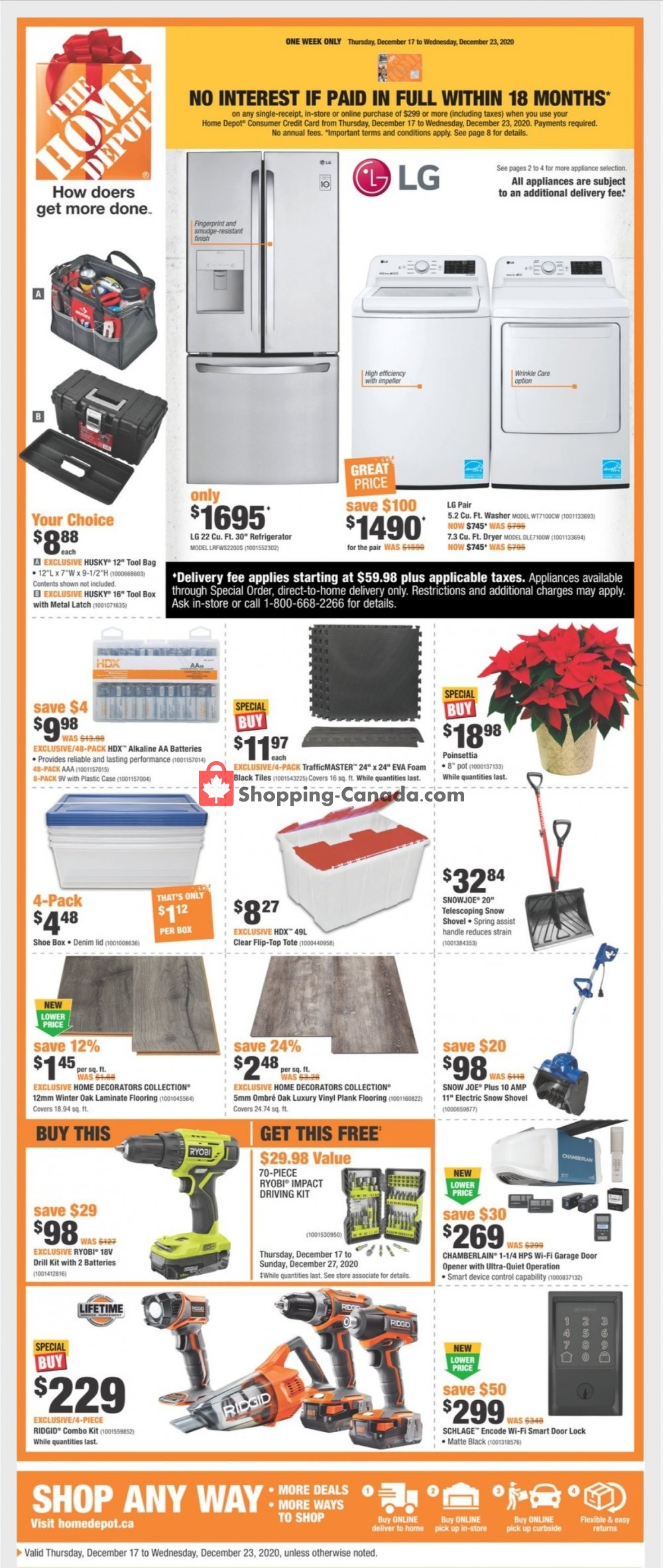 Flyer Home Depot Canada - from Thursday December 17, 2020 to Thursday December 24, 2020