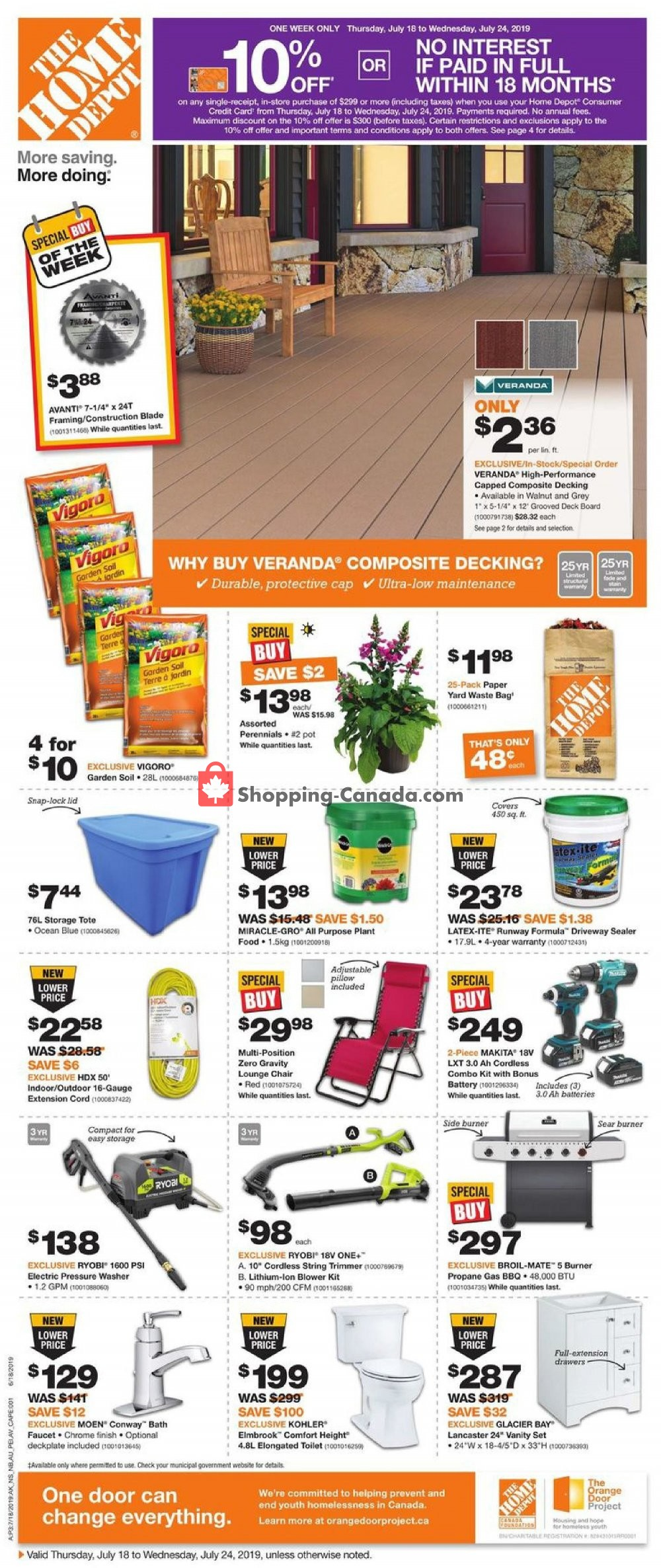 Flyer Home Depot Canada - from Thursday July 18, 2019 to Wednesday July 24, 2019