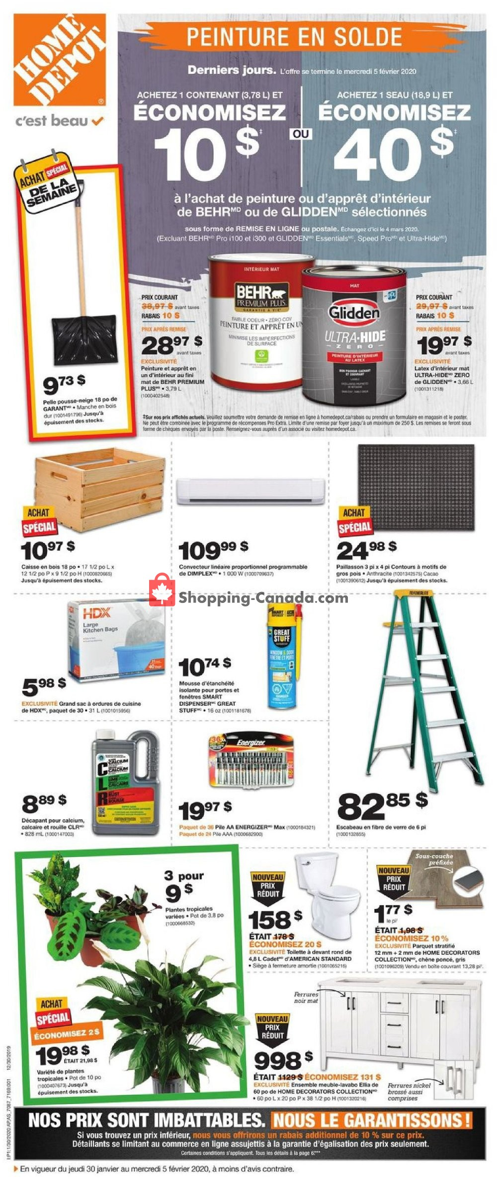 Flyer Home Depot Canada - from Thursday January 30, 2020 to Wednesday February 5, 2020