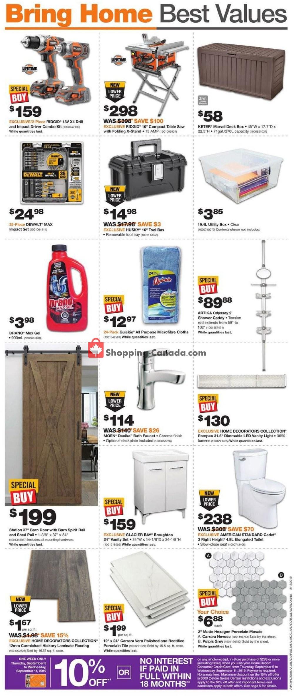 Flyer Home Depot Canada - from Thursday September 5, 2019 to Wednesday September 11, 2019
