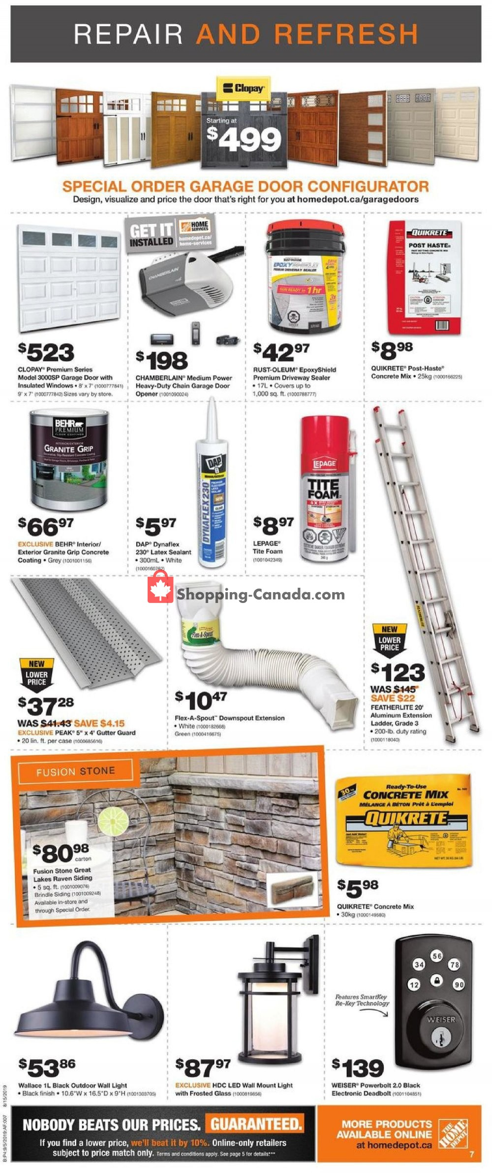 Flyer Home Depot Canada - from Thursday September 5, 2019 to Wednesday September 11, 2019