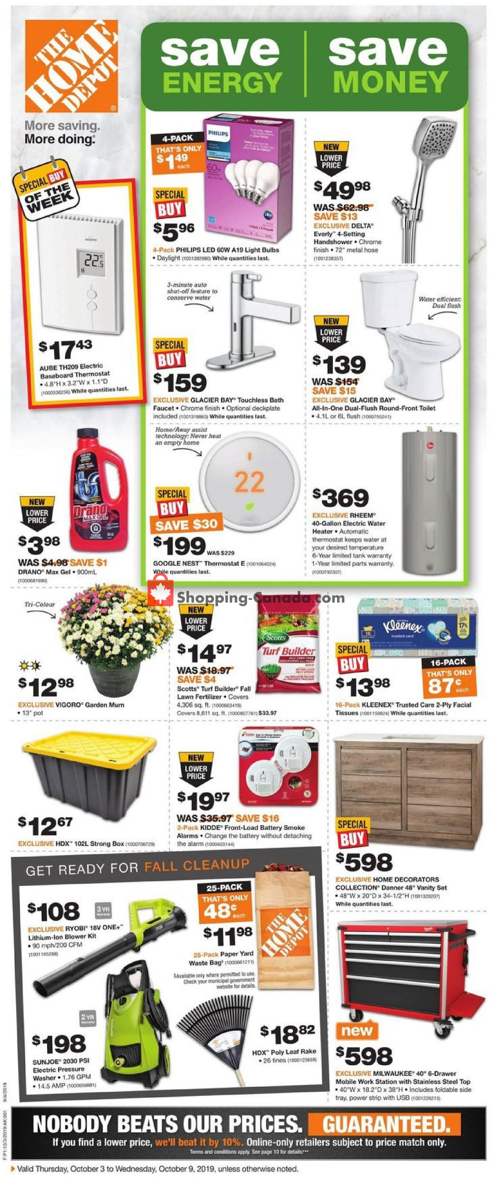 Flyer Home Depot Canada - from Thursday October 3, 2019 to Wednesday October 9, 2019