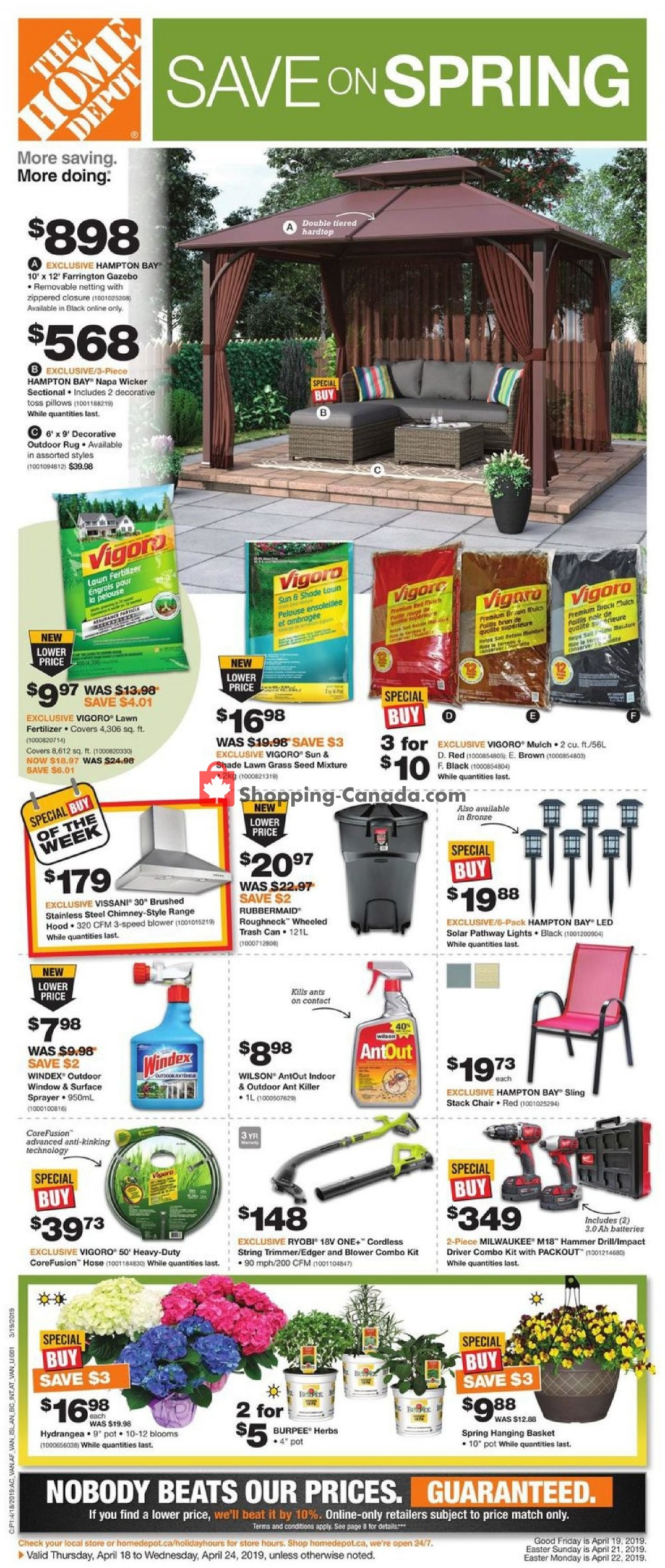 Flyer Home Depot Canada - from Thursday April 18, 2019 to Wednesday April 24, 2019