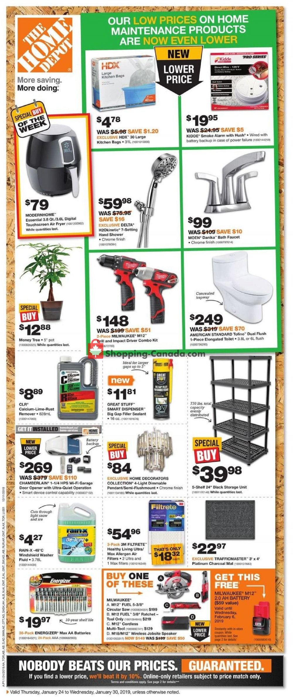 Flyer Home Depot Canada - from Thursday January 24, 2019 to Wednesday January 30, 2019