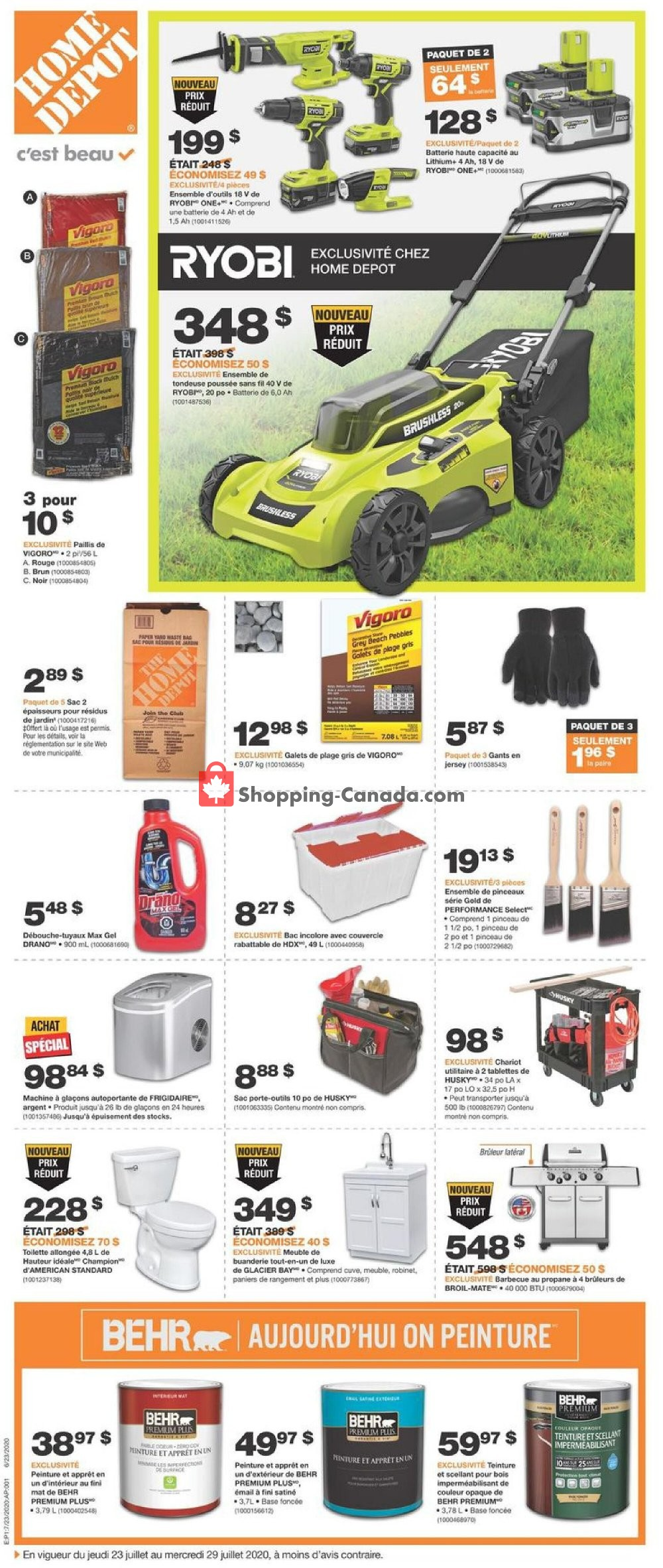 Flyer Home Depot Canada - from Thursday July 23, 2020 to Wednesday July 29, 2020