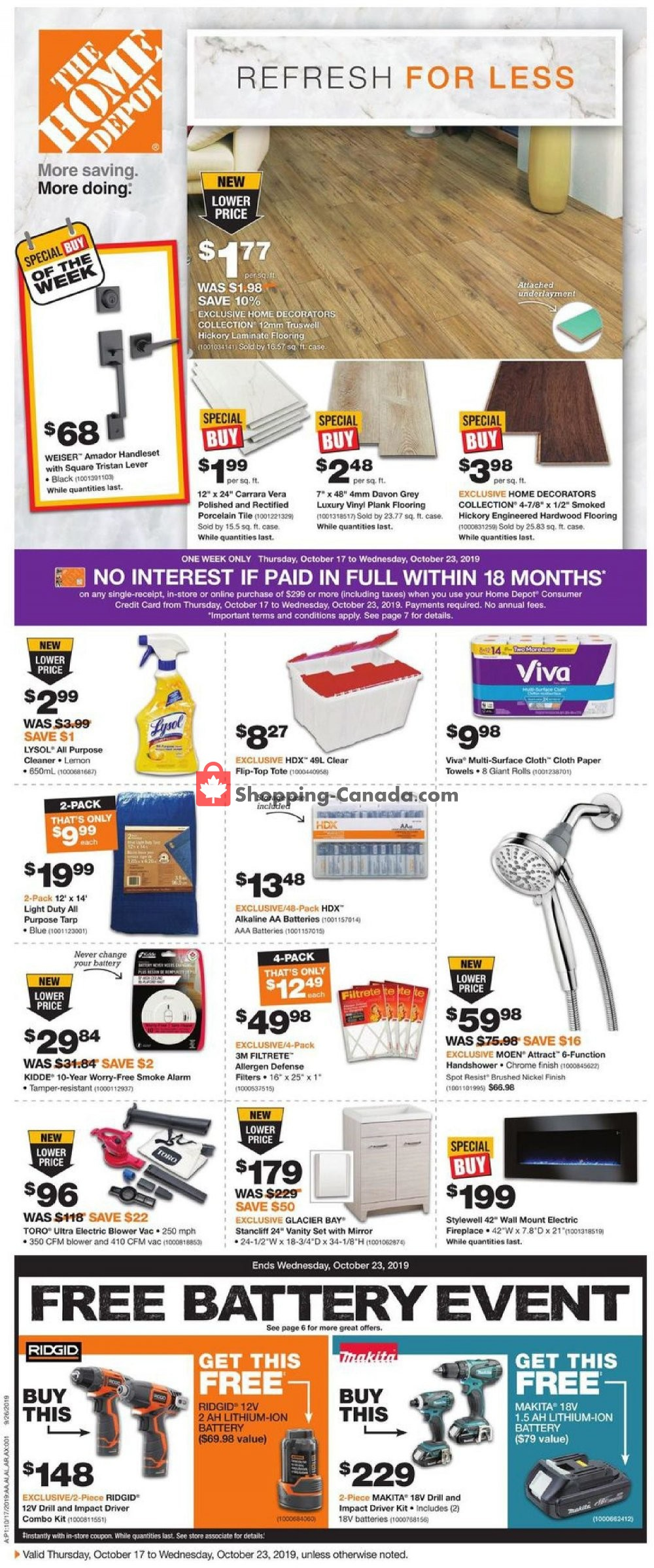 Flyer Home Depot Canada - from Thursday October 17, 2019 to Wednesday October 23, 2019