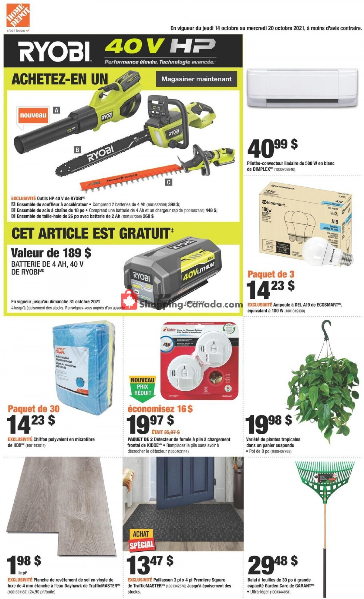 Flyer Home Depot Canada - from Thursday October 14, 2021 to Wednesday October 20, 2021