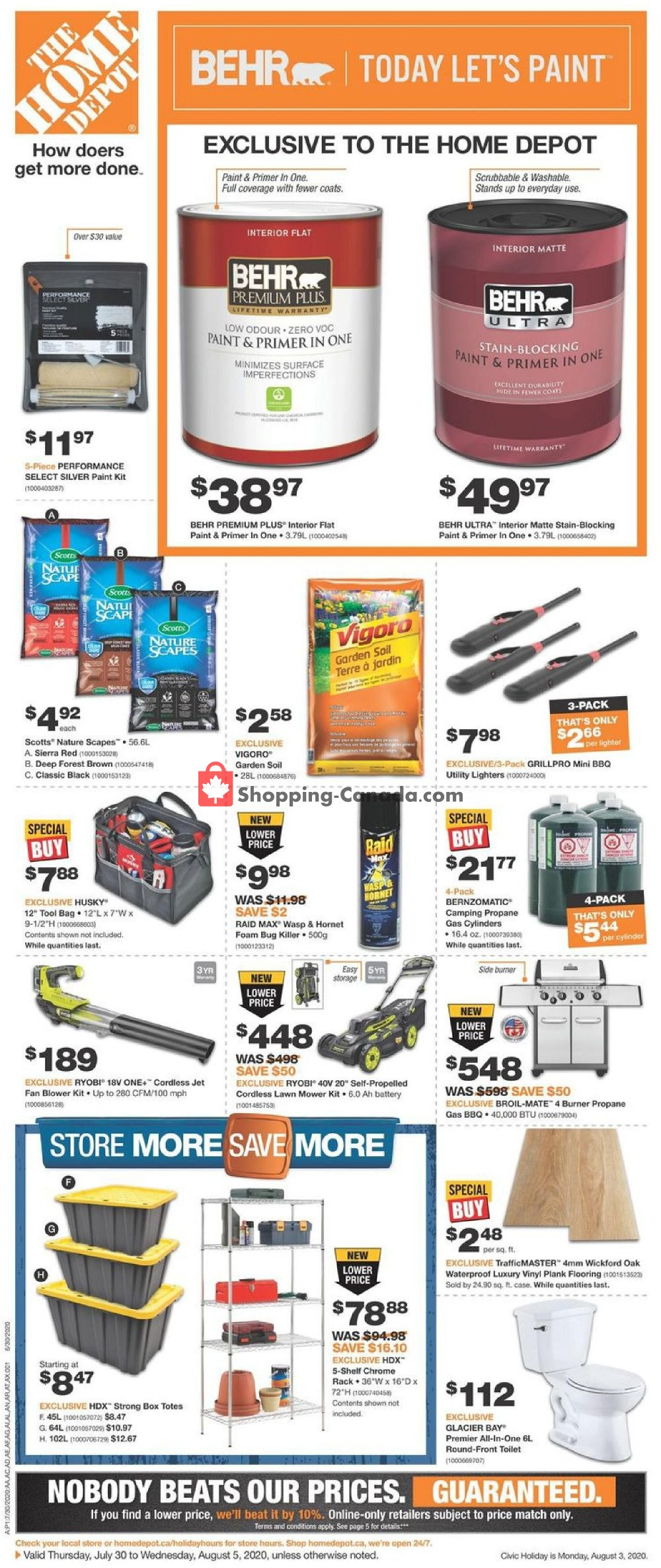 Flyer Home Depot Canada - from Thursday July 30, 2020 to Wednesday August 5, 2020