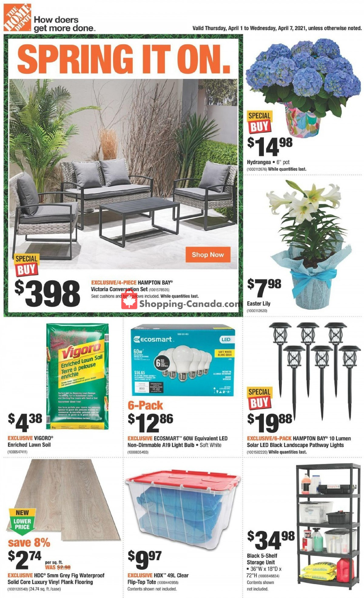 Flyer Home Depot Canada - from Thursday April 1, 2021 to Wednesday April 7, 2021