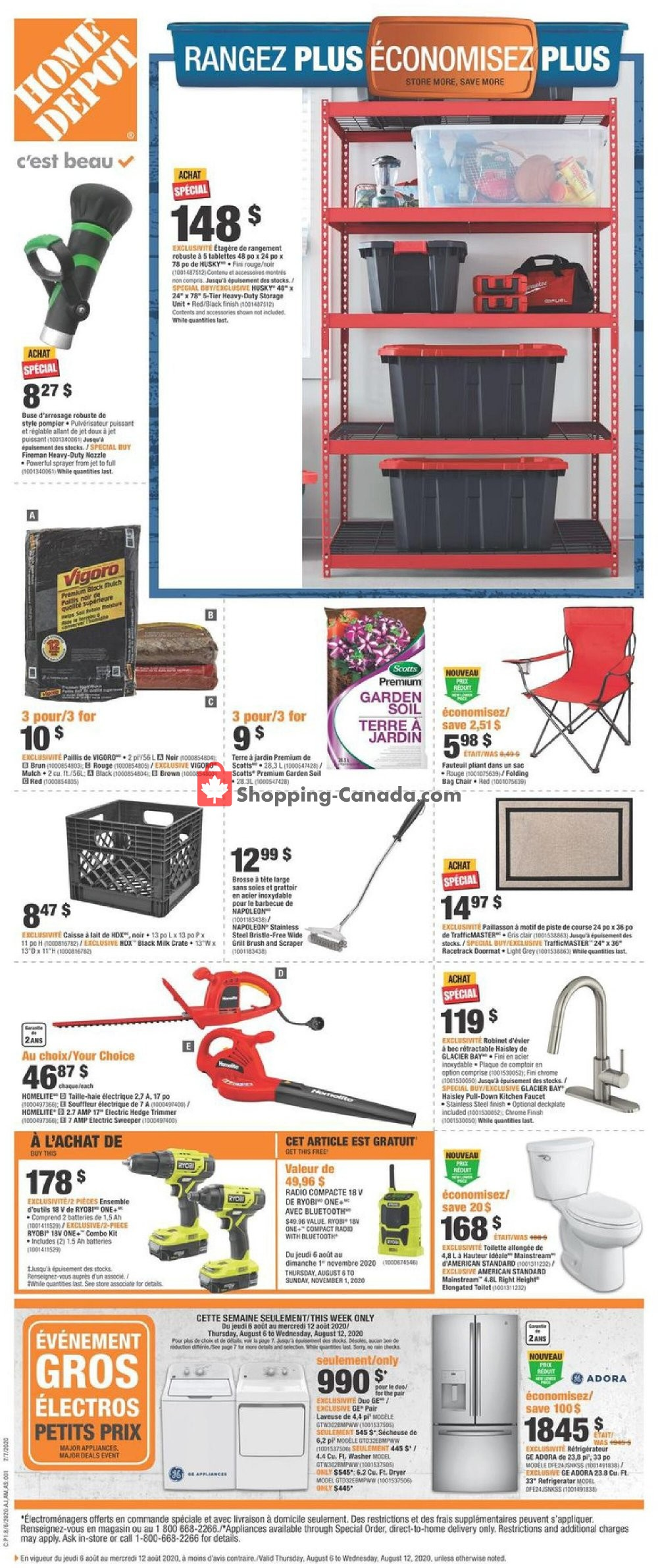 Flyer Home Depot Canada - from Thursday August 6, 2020 to Wednesday August 12, 2020