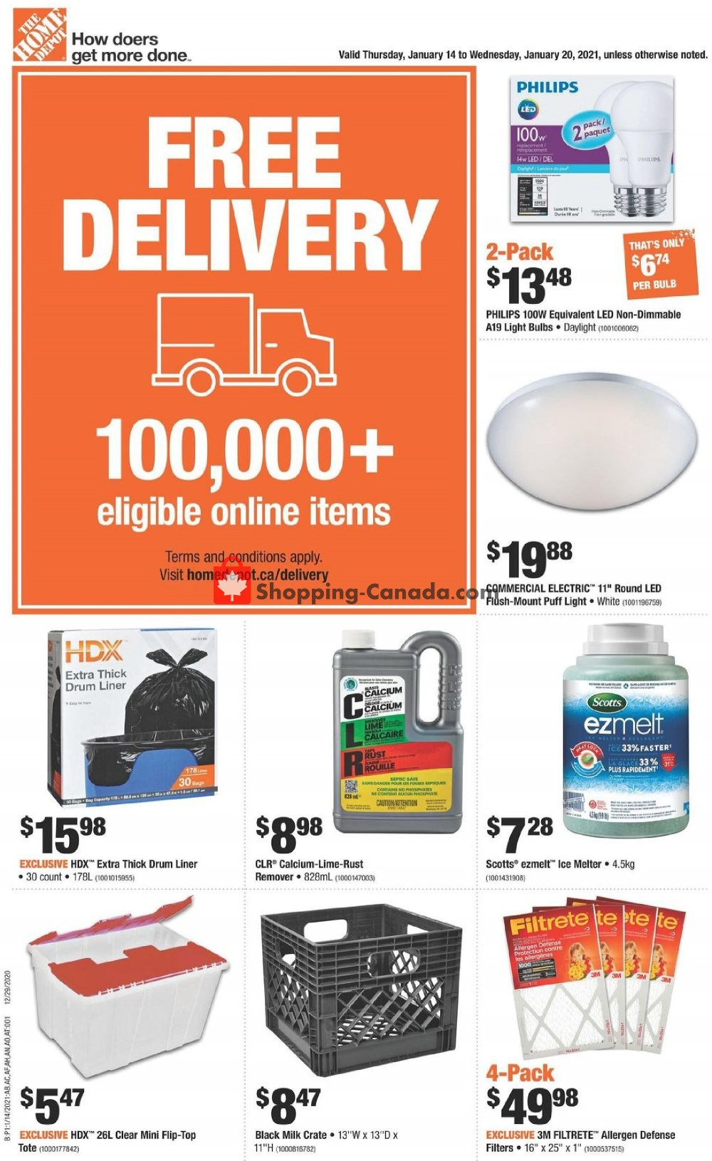Flyer Home Depot Canada - from Thursday January 14, 2021 to Wednesday January 20, 2021
