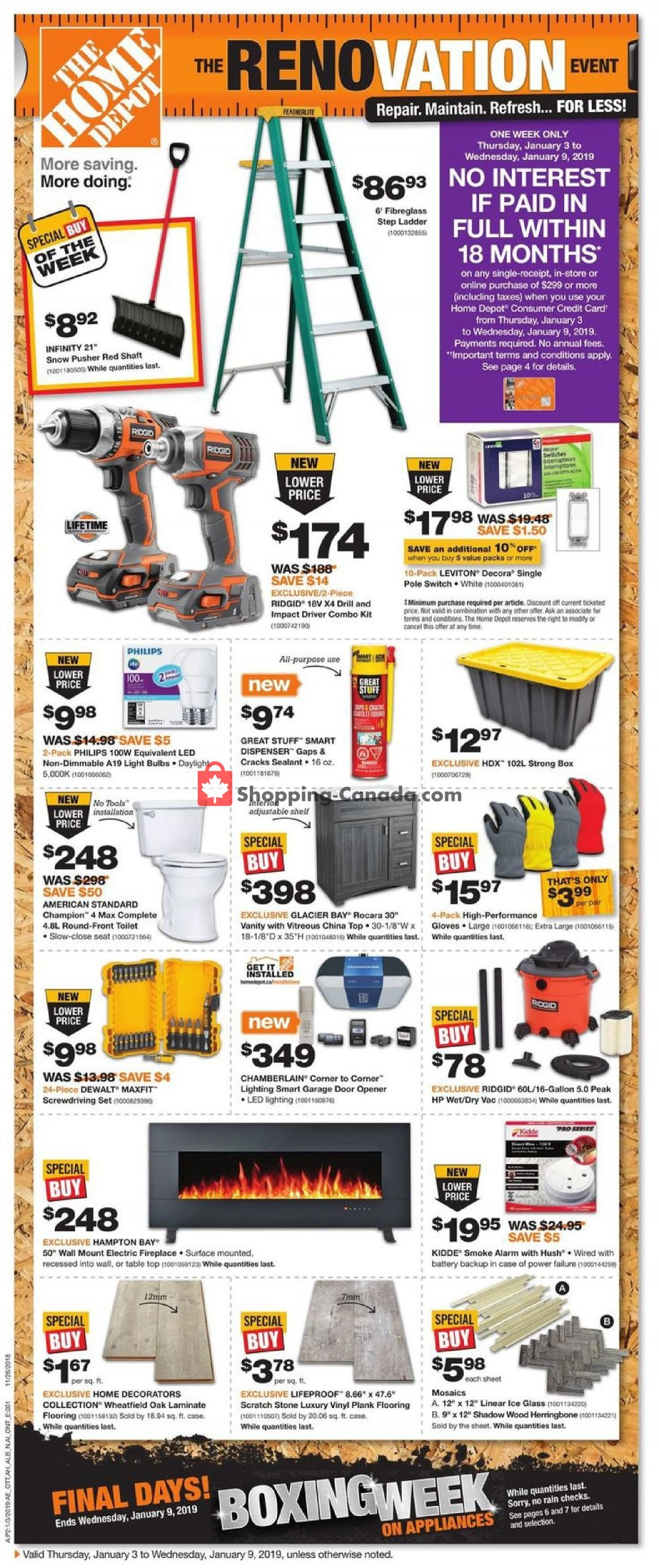 Flyer And Weekly Ads Home Depot Canada The Renovation