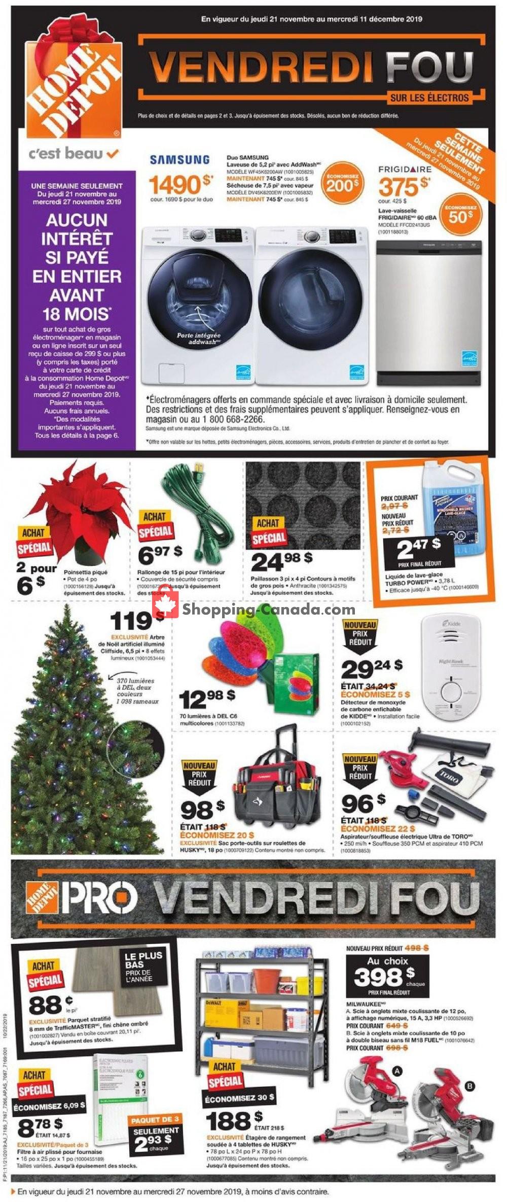 Flyer Home Depot Canada - from Thursday November 21, 2019 to Wednesday November 27, 2019