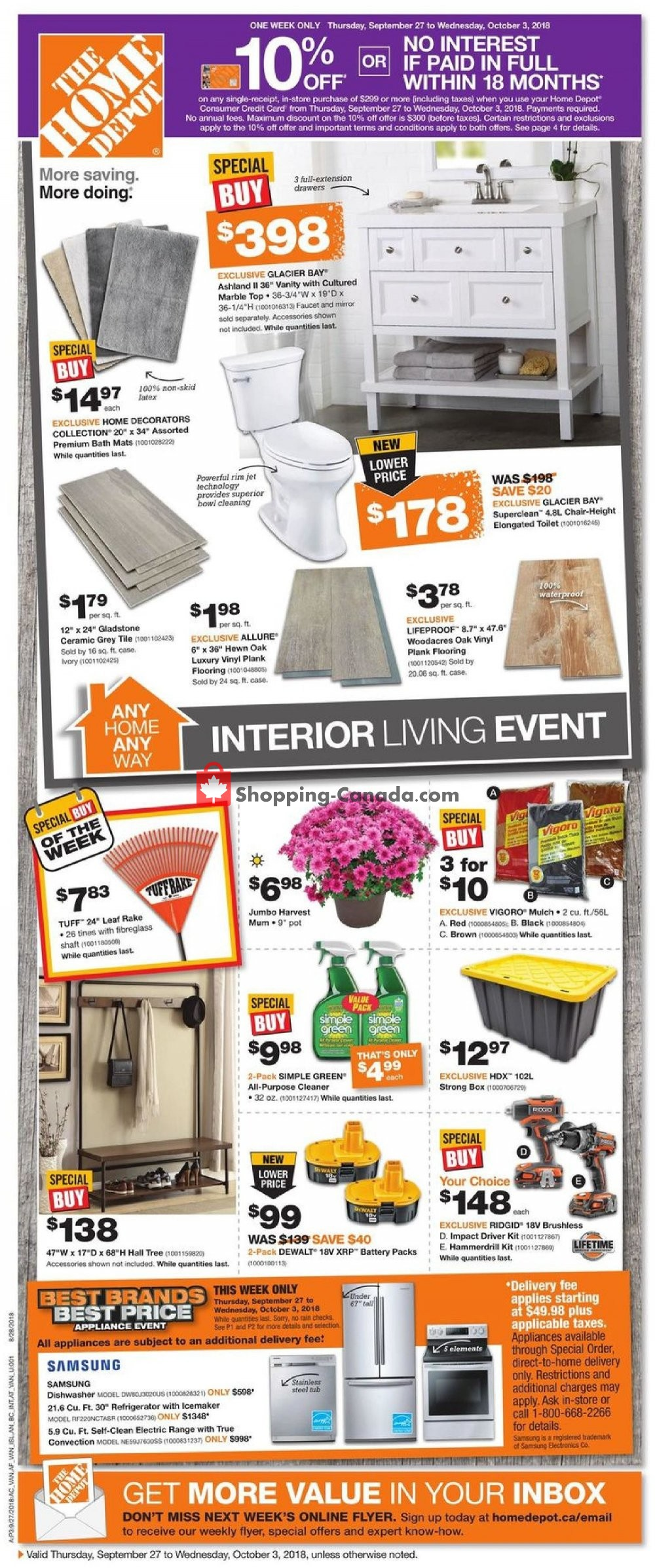 Flyer Home Depot Canada - from Thursday September 27, 2018 to Wednesday October 3, 2018