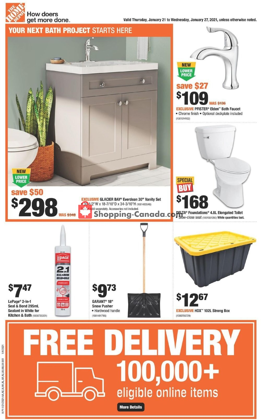 Flyer Home Depot Canada - from Thursday January 21, 2021 to Wednesday January 27, 2021