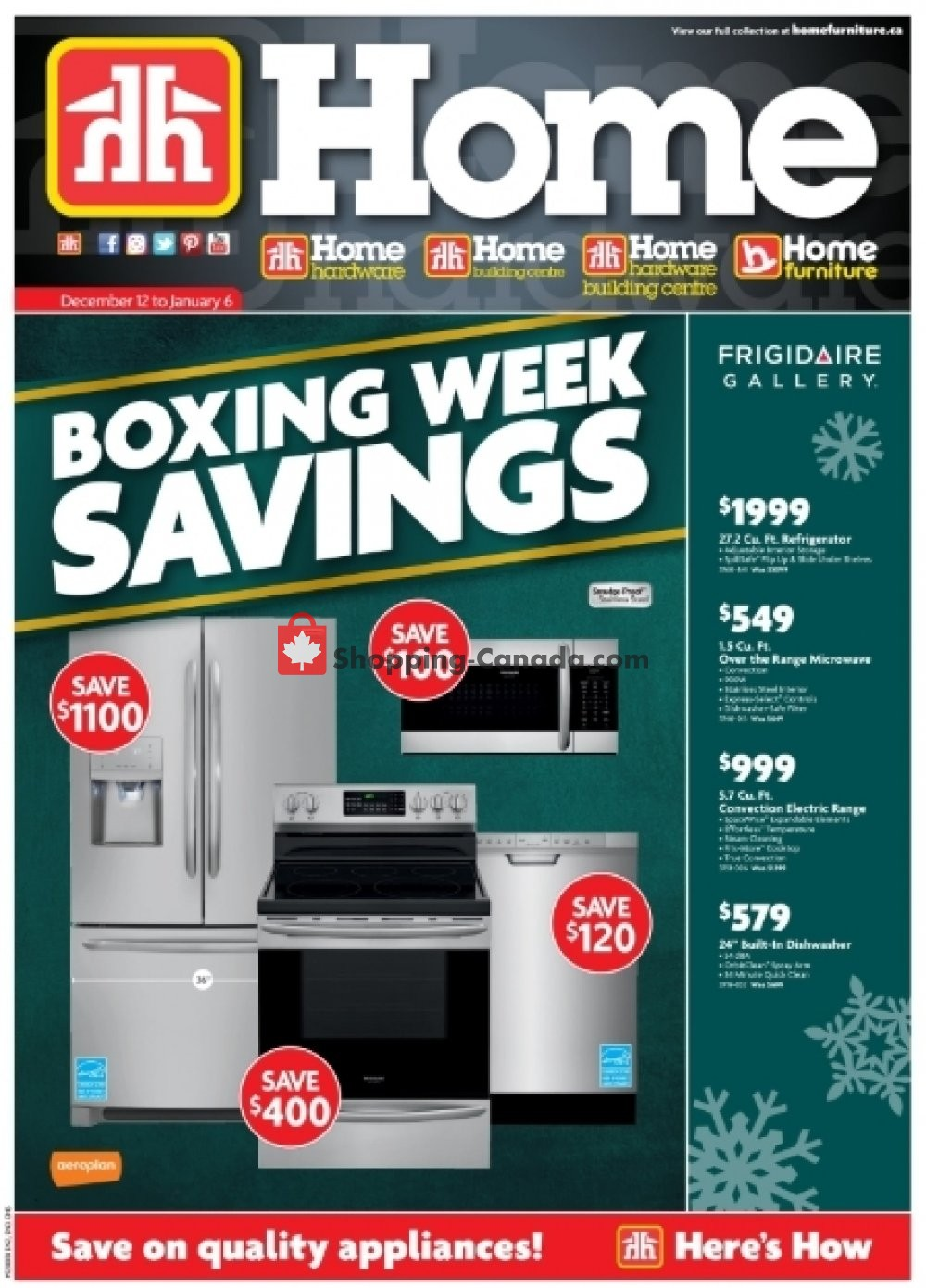 Flyer Home Furniture Canada - from Wednesday December 12, 2018 to Sunday January 6, 2019