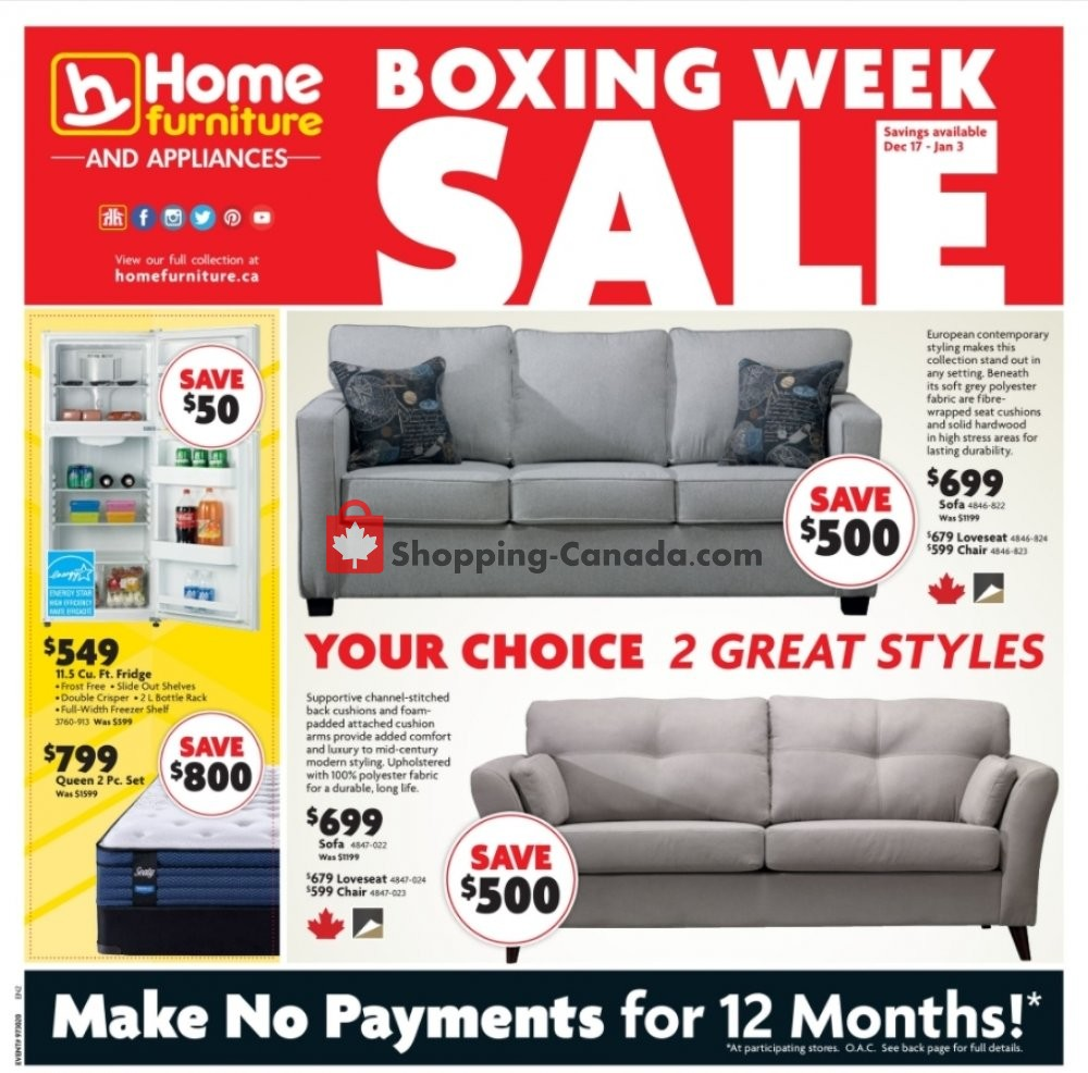 Flyer Home Furniture Canada - from Thursday December 17, 2020 to Sunday January 3, 2021