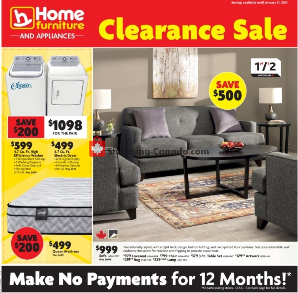 Flyer Home Furniture Canada - from Thursday January 21, 2021 to Sunday January 31, 2021