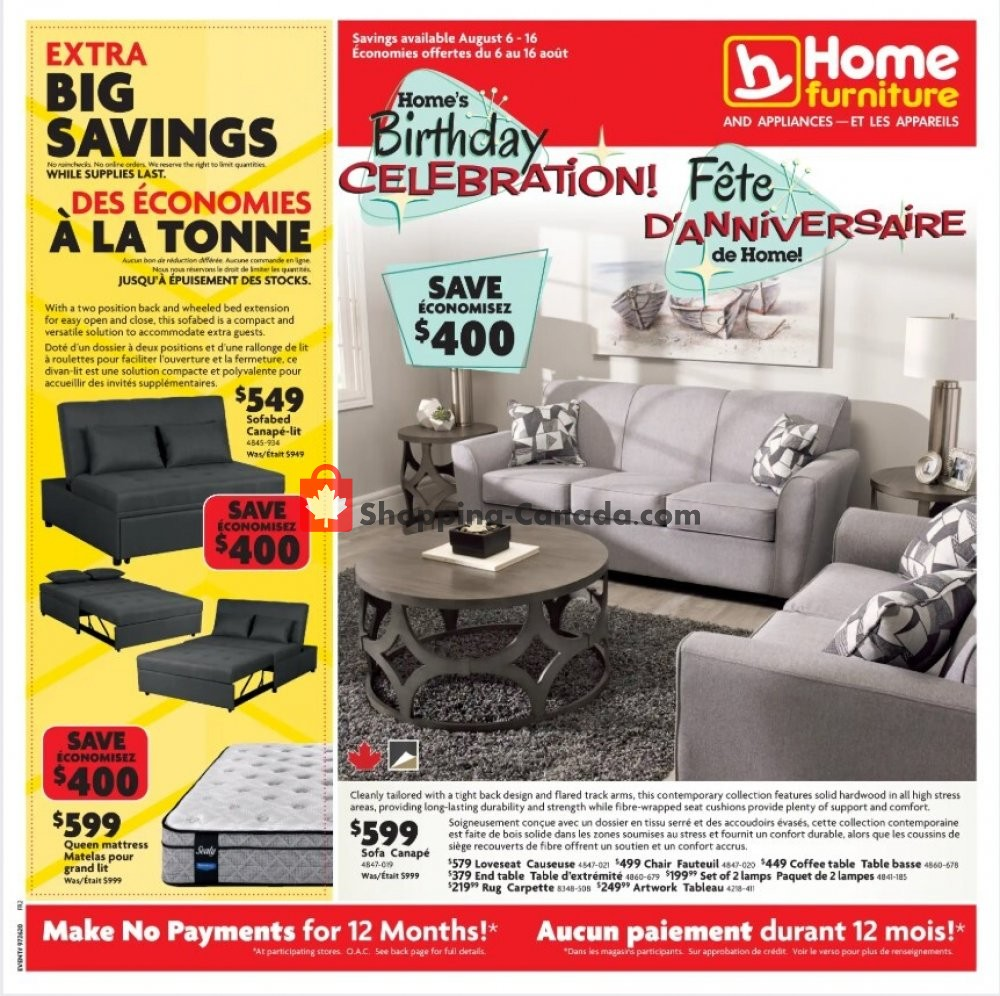 Flyer Home Furniture Canada - from Thursday August 6, 2020 to Sunday August 16, 2020