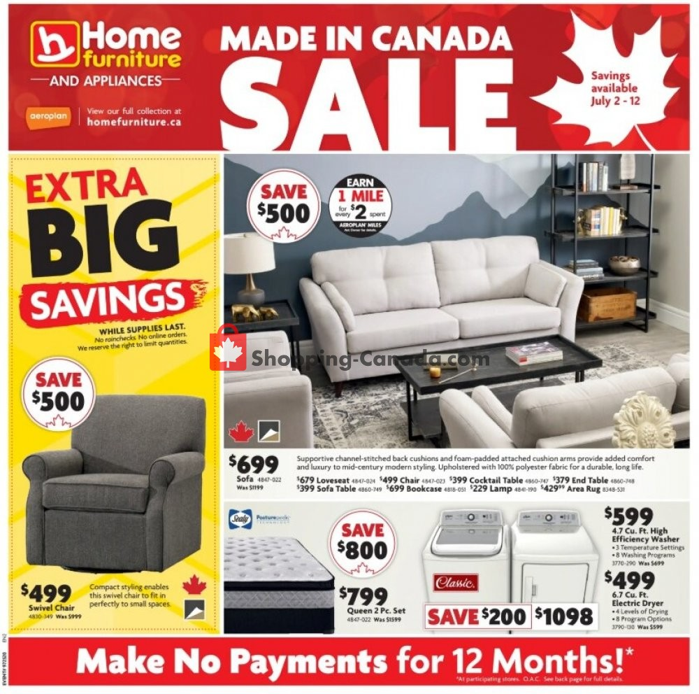Flyer Home Furniture Canada - from Thursday July 2, 2020 to Sunday July 12, 2020
