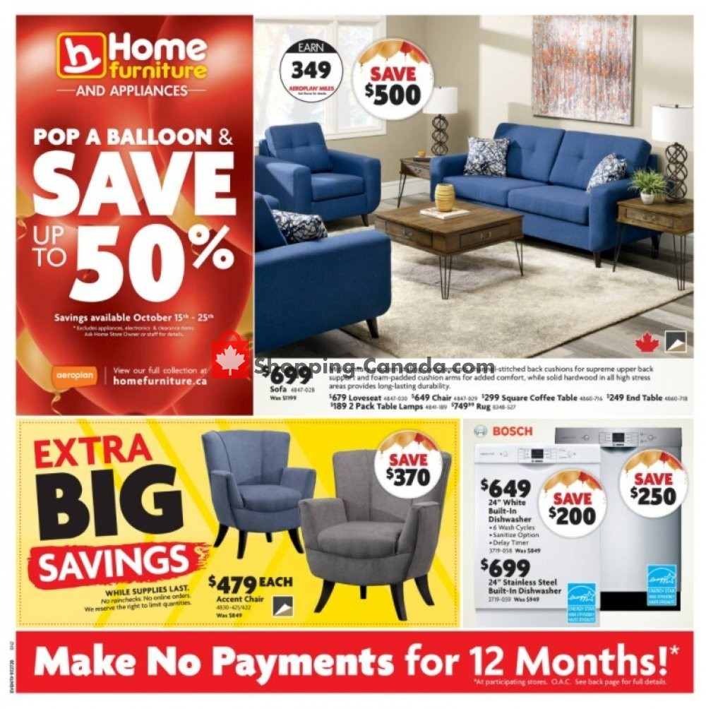 Flyer Home Furniture Canada - from Thursday October 15, 2020 to Sunday October 25, 2020