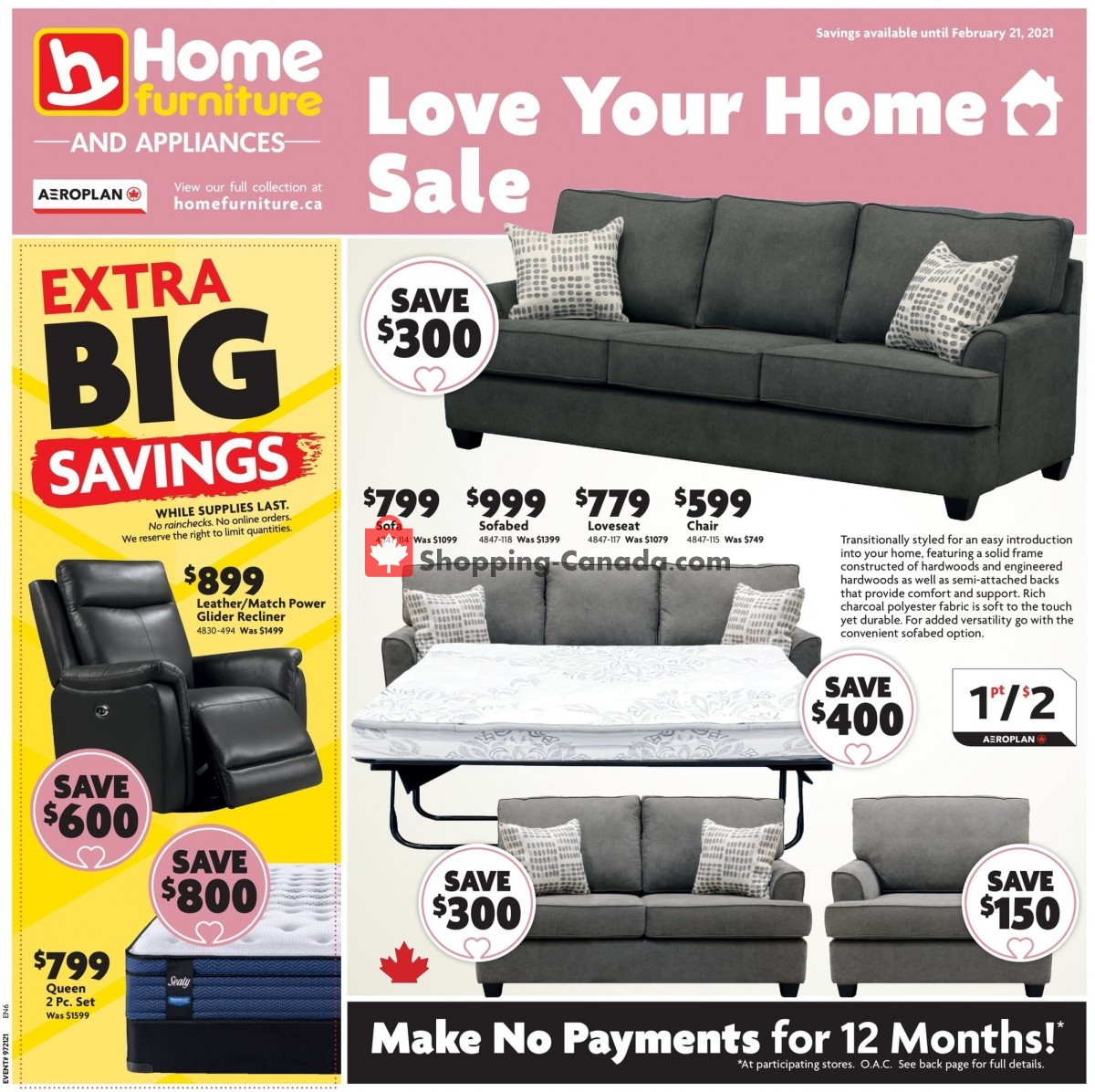 Flyer Home Furniture Canada - from Thursday February 11, 2021 to Sunday February 21, 2021