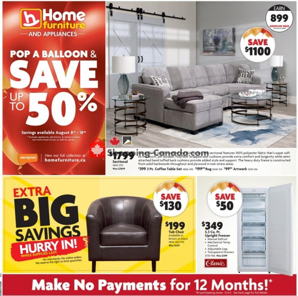 Flyer Home Furniture Canada - from Thursday August 8, 2019 to Sunday August 18, 2019
