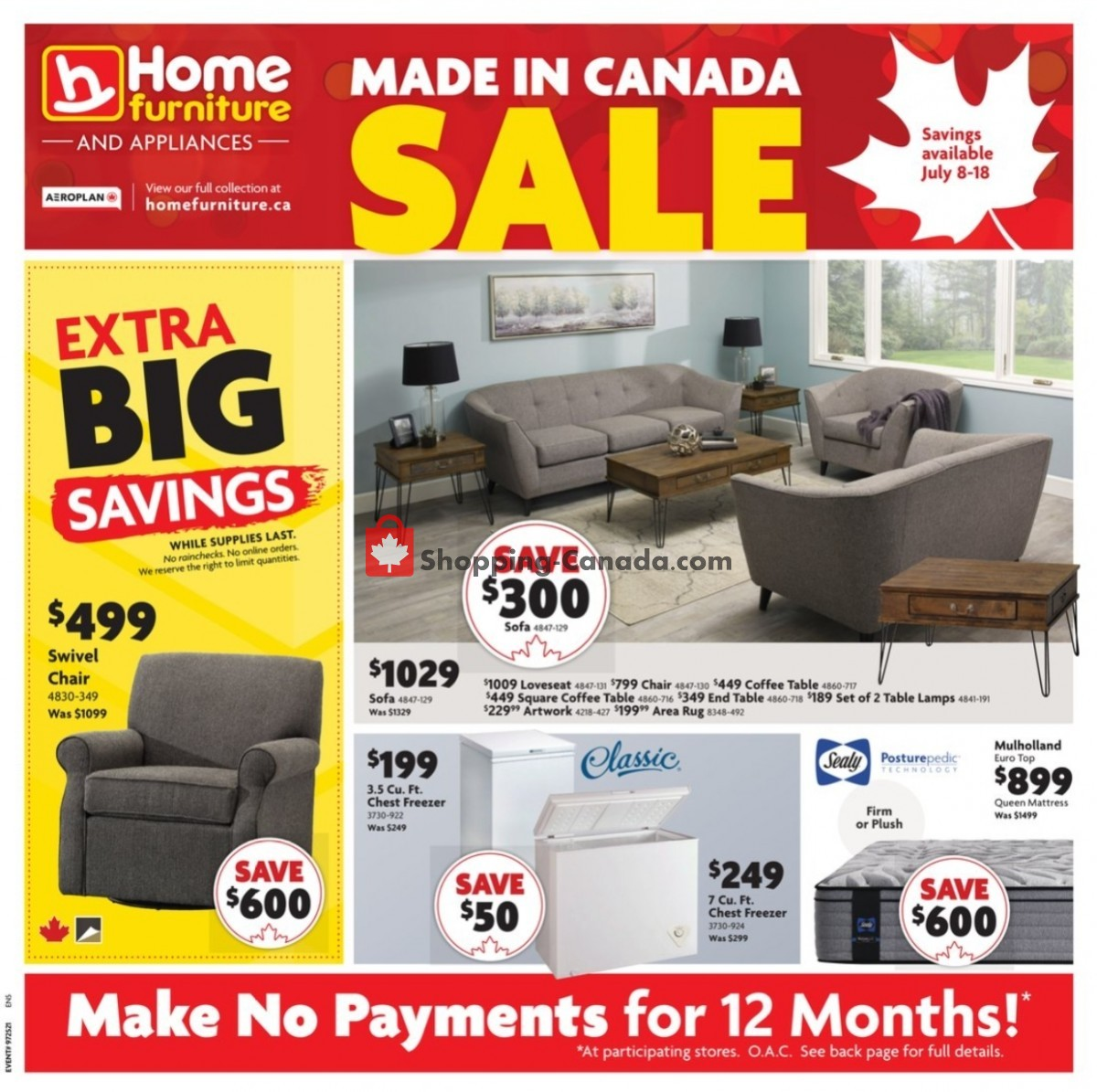Flyer Home Furniture Canada - from Thursday July 8, 2021 to Sunday July 18, 2021