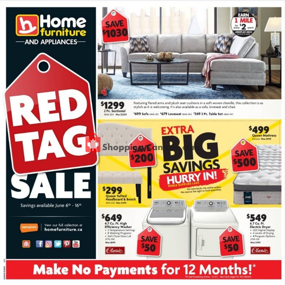 Flyer Home Furniture Canada - from Thursday June 6, 2019 to Sunday June 16, 2019